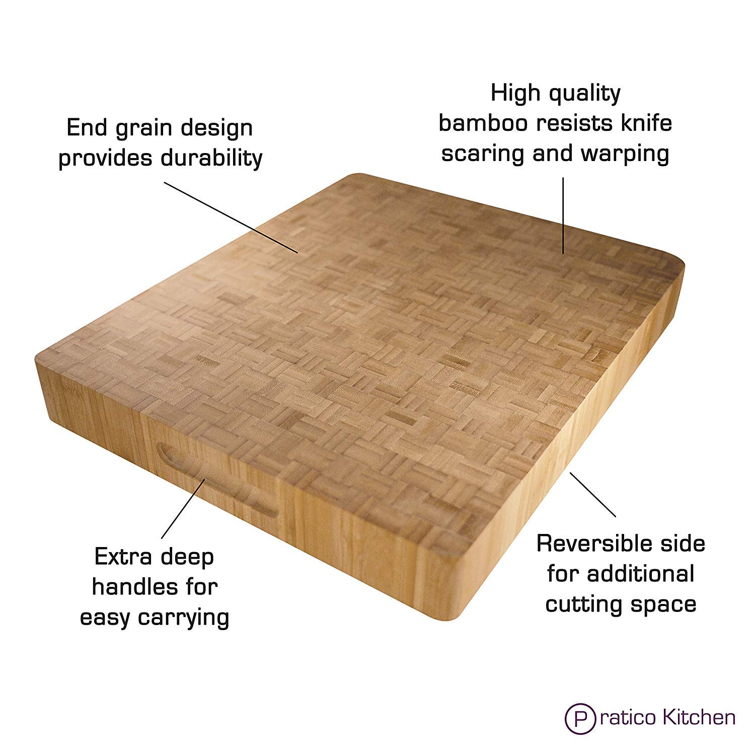 Pratico Kitchen Reversible Organic End Grain Butcher Chopping Block & Serving Tray