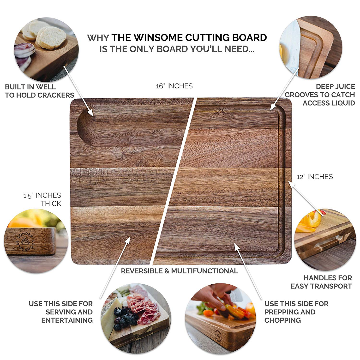 Sonder LA Large Reversible Multipurpose Thick Acacia Wood Cutting Board