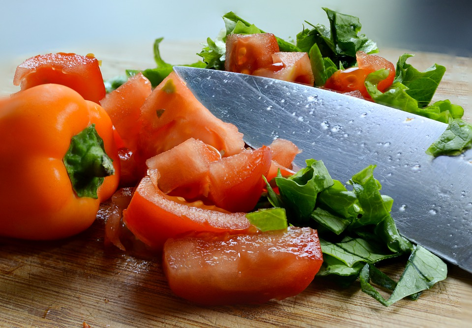 vegetables chop with a knife